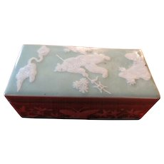 Antique 19th century Chinese Celadon Porcelain Writing Box with Characters and Butterflies
