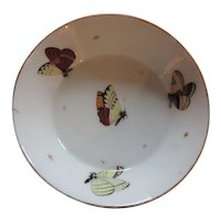 Antique 18th century French Chantilly Paris Porcelain Saucer Bowl Decorated with Butterflies