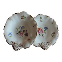 Pair Antique 19th century English Porcelain Dessert Dishes in Shell Form Decorated with Floral Bouquets 1820