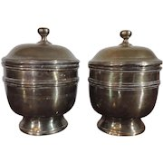 Pair Antique 18th century English Brass Urn Vase Jars with Covers