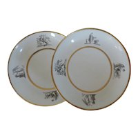 Pair Antique Early 19th century Worcester Flight Barr and Barr Neoclassical Porcelain Low Bowls