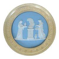 Antique 19th century Wedgwood Jasperware Plaque Classical Altar Scene Mounted in Gilt Bronze Frame