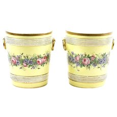 Large Pair Antique 19th century French Empire Paris Porcelain Cachepot Jardinieres and Stands by Edouard Honore