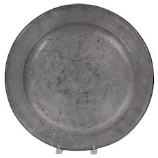 Large Antique 18th century Pewter Charger with London Touchmark