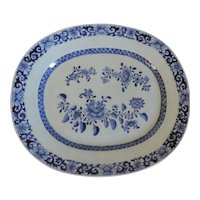 Antique 18th century Chinese Blue and White Porcelain Platter Decorated with Peonies