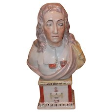 Large Antique Late 18th / Early 19th century English Staffordsire Pearlware Portrait Bust of John Milton 1800