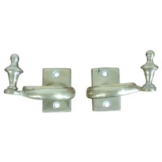 Antique Early 19th century American Federal Brass Jamb Hooks to Hold Fire Tools on the Hearth or Fireplace Mantel