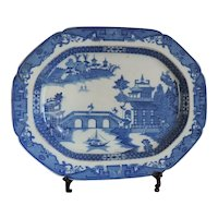 Large Antique Early 19th century English Staffordshire Pearlware Blue & White Platter in the Chinese Taste