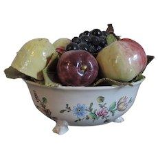 Antique 18th century French Faience Tin Glaze Pottery Veuve Perrin Tromp L'oeil Fruit Bowl Sculpture Centerpiece