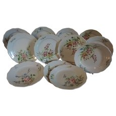 Set twelve Antique 19th century French Faience Tin Glaze Delft Pottery Veuve Perrin Dessert Plates