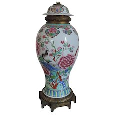 Large Antique Chinese Famille Rose Porcelain Baluster Shaped Garniture Vase & Cover as a Table Lamp 18th / 19th century in Ormolu Mounts