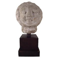 American Art Deco Carved Stone Garden Sculpture Ornament - Bust of the Sun 1920