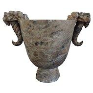 Large French Art Deco Carved Marble Vase Urn with Stylized Cornucopia Handles 1920