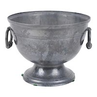 Antique 18th century French Pewter Footed Centerpiece Bowl for Fruit or Punch