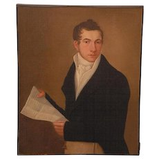 Early 19th century New York State Portrait of a Gentleman Holding a Letter American Federal Oil Painting on Canvas In Period Gilt Wood Frame