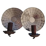 Vintage Pair Colonial Revival Round Mirrored Tole Tin Sconces Electrified