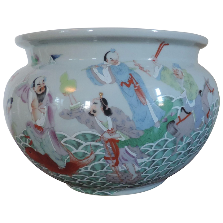 Large Antique Chinese Porcelain Fish Bowl Or Planter Decorated With Immortals In Famille Rose Palette Early 20th Century