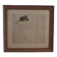 Pre War Pencil Drawing & Watercolor Painting of Mice by Stephen Voorhies Study for Children's Book
