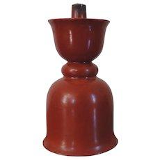 Antique 19th century Chinese Coral Red Orange Porcelain Candlestick or Incense Burner