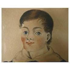 Antique Early 19th century American Federal Miniature Portrait Painting of a Boy Holding a Book in Ink and Watercolor