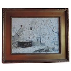 Early 20th century American Impressionist Winter Snow Scene Oil Painting on Canvas 1920 - 1930 by C. Harry Allis (1870 - 1938)