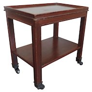 Small Mahogany Two Tier Occasional Side Table or Caddy on Casters in the Manner of Karl Springer