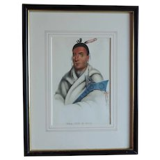 McKenney & Hall Hand Colored Print of Native American Indian Waa-Top-E-Not 1840 - 1850