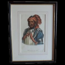 McKenney & Hall Hand Colored Print of Native American Indian Tens-Kwau-Ta-Waw - The Prophet 1840 - 1850