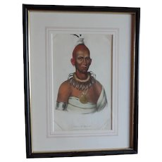 McKenney & Hall Hand Colored Print of Native American Indian Tai-O-Mah a Musquakee Brave 1840 - 1850