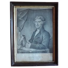Antique Early 19th century American Black & White Portrait Print of President Thomas Jefferson