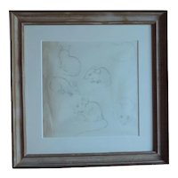 Pre War Pencil Drawing of Mice by Stephen Voorhies Study for Children's Book