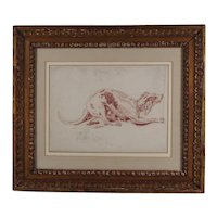 Antique 18th century Italian Drawing of a Greyhound Red Chalk on Paper in French Mat with Carved Gilt Wood Frame
