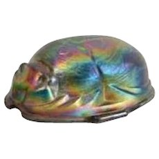 Iridescent Art Glass Egyptian Revival Scarab Beetle Form Paperweight or Lamp Shade