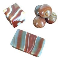 Collection 3 Antique Grand Tour Mineral Specimens 19th century Banded Agate Desk Ornaments or Paperweights