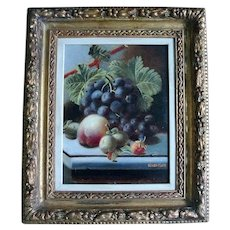 19th century Oliver Clare Still Life Oil Painting on Board of Fruit and Grapes