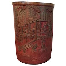 Antique 19th century Chinese Carved Wood Bamboo Brush Pot or Vase with Red Finish