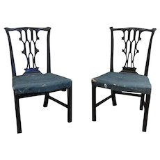 Pair Antique 18th century English George III Chippendale Carved Mahogany Chairs in the Gothic Taste