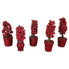 Collection of Five Antique 19th century German Christmas Ornaments Paint Decorated and Carved Wood Red Berry Topiary Trees in Pots
