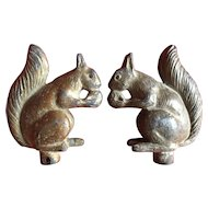 Antique Eary 20th c. Lead Garden Faucet Handles in the Form of Squirrels Holding Acorns c. 1910