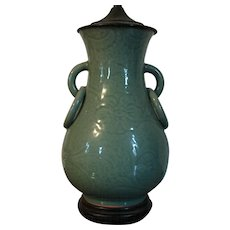 Antique 19th century Chinese Celadon Porcelain Vase with Ring Handles Mounted as a Table Lamp