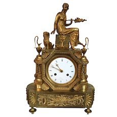 Antique Late 18th / Early 19th century French Empire Directoire Gilt Bronze Mantel Clock by Oudin, Paris Featuring Ariadne Spinning Silk 1800