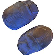 Pair Antique 19th century Grand Tour Plaster Paperweights in the Form of Scarabs Egyptian Revival Souvenirs