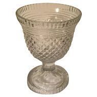 Antique 18th century English George III Anglo Irish Glass Cut Lead Crystal Vase Urn in a Diamond Pattern