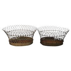 Pair Antique French Wire Oval Planter Baskets for Flowers or Fruit with Single Tole Liner