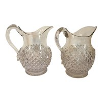 Large Pair 19th century Early American Pattern Glass EAPG Pitchers for Milk Water or Juice in the Sawtooth Pineapple Pattern with Applied Handles