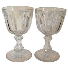 Large Pair Antique 19th century American Brilliant Period ABP Glass Cut Crystal Wine Goblets Dorflinger