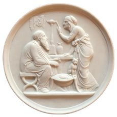 Antique 19th century Bing & Grondahl Parian Bisque Neoclassical Wall Plaque Symbolizing Old Age