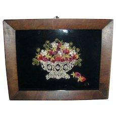 Victorian Paper Scroll Work Picture on Velvet Basket of Strawberries