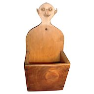 19th c. Carved Wood American Southern Folk Art Candle, Pipe or Match Box for the Fireplace Mantel