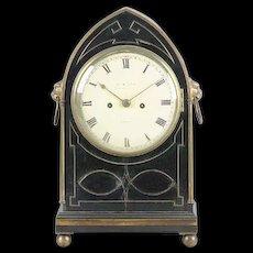 Antique Early 19th century English Regency Ebonized & Brass Inlaid Clock by James McCabe London 1810